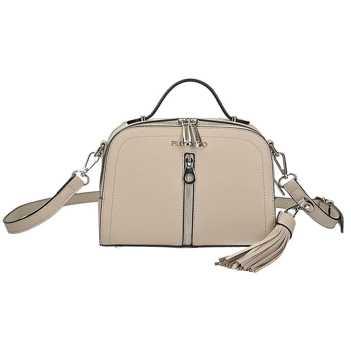 Béžová menší kabelka-kufřík, má 2 stylově odlišné řemínky