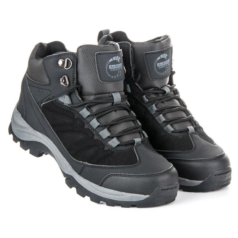 Černé pánské trekové boty na šněrování