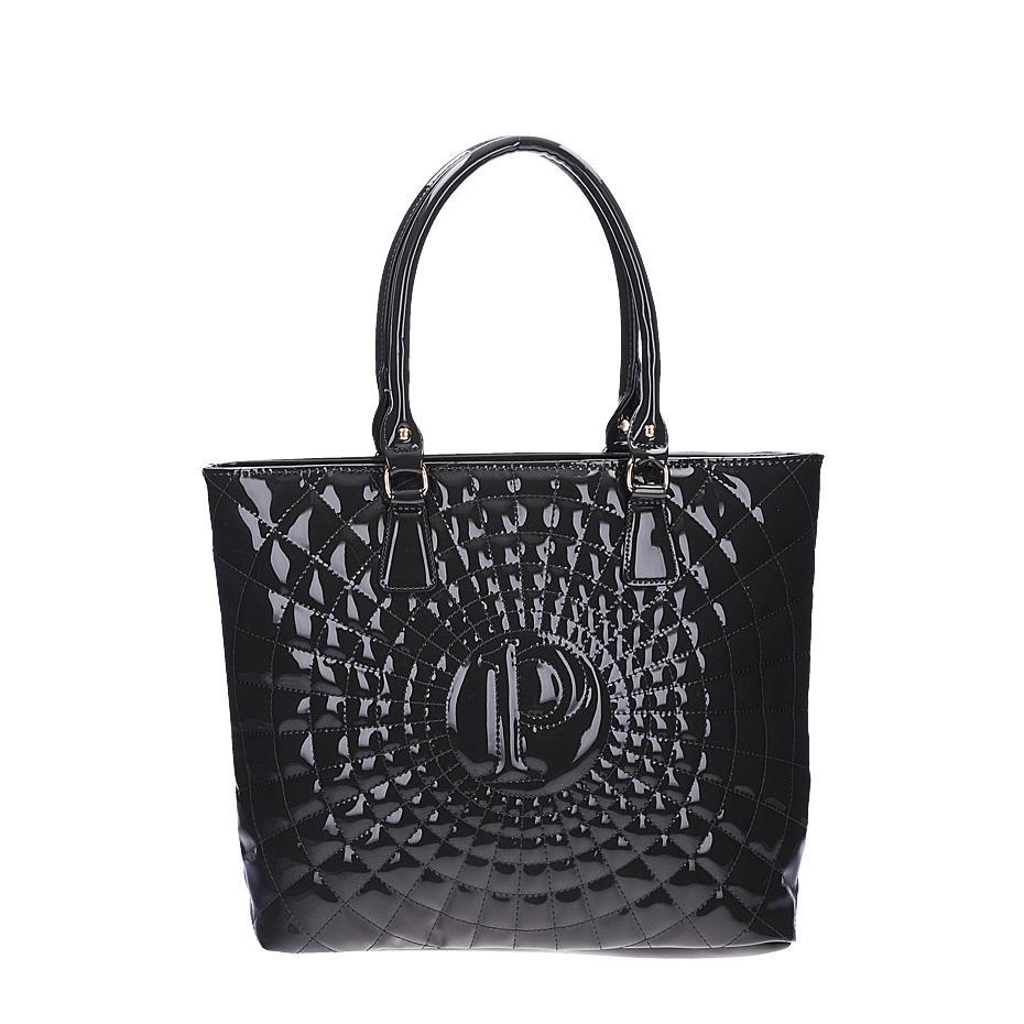 Dámská černá lakovaná kabelka s prošíváním