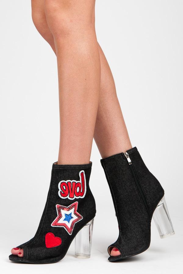 Dámské černé letní boty v džínovém designu