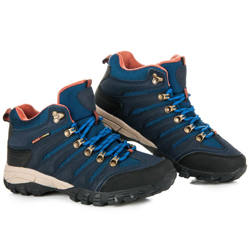 Dámské modré trekové boty v sportovním stylu