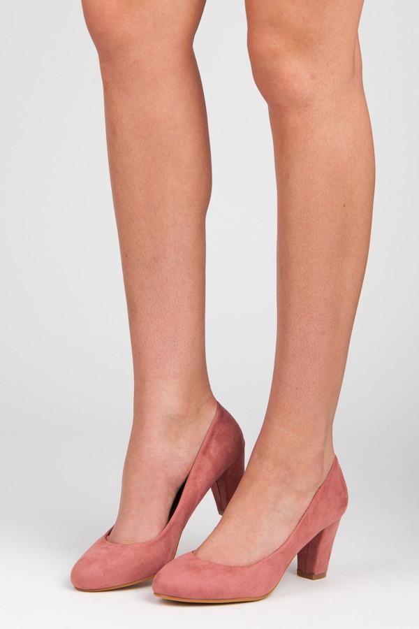 Dámské růžové semišové lodičky na podpatku
