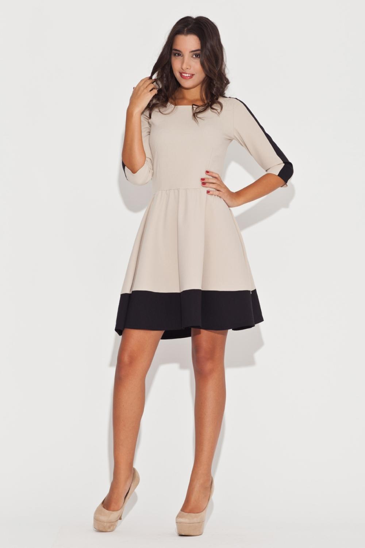Dámské šaty K057 black - beige
