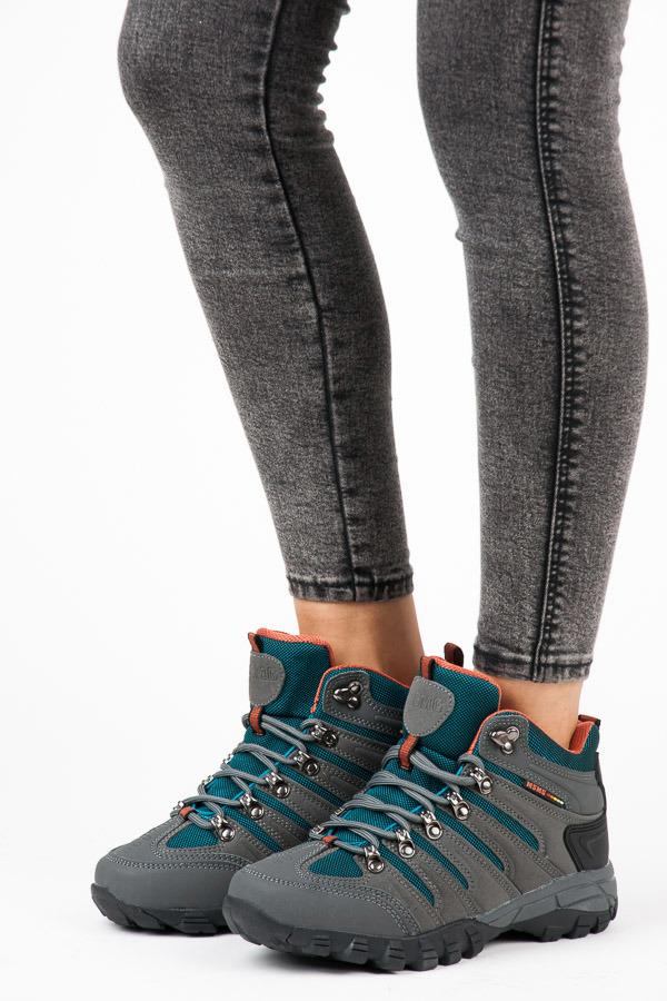 Dámské tmavě šedé trekové boty ve sportovním stylu