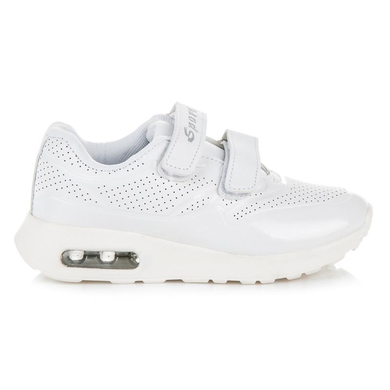 Dětské bílé sportovní botasky na suchý zip