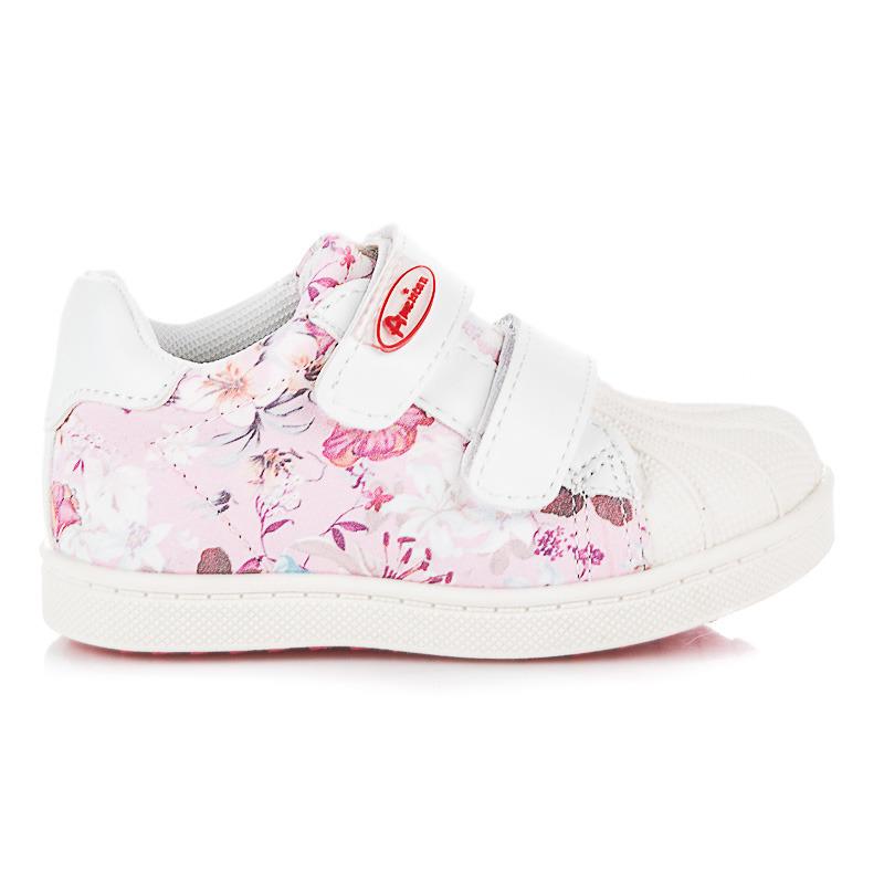 Dětské bílo-růžové tenisky s květy