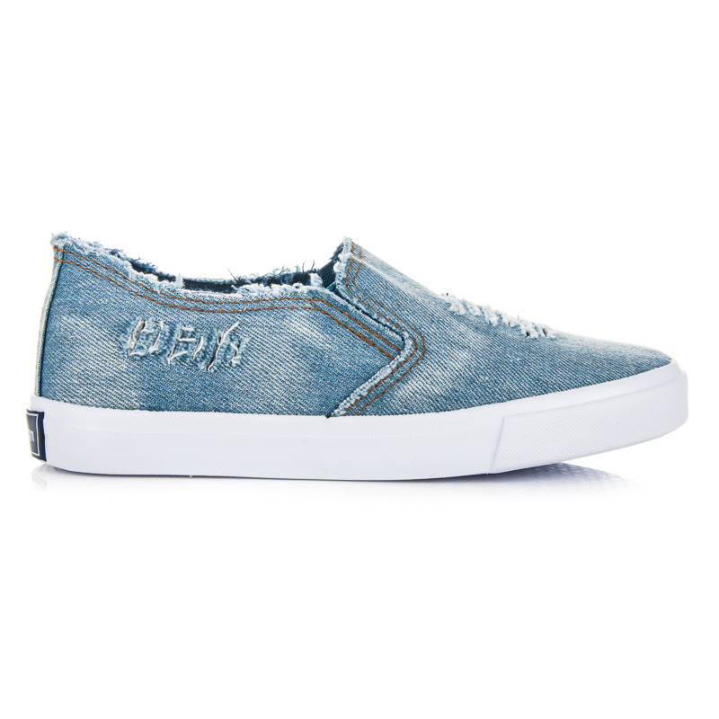 Dětské modré džínové tenisky na pohodlné podrážce