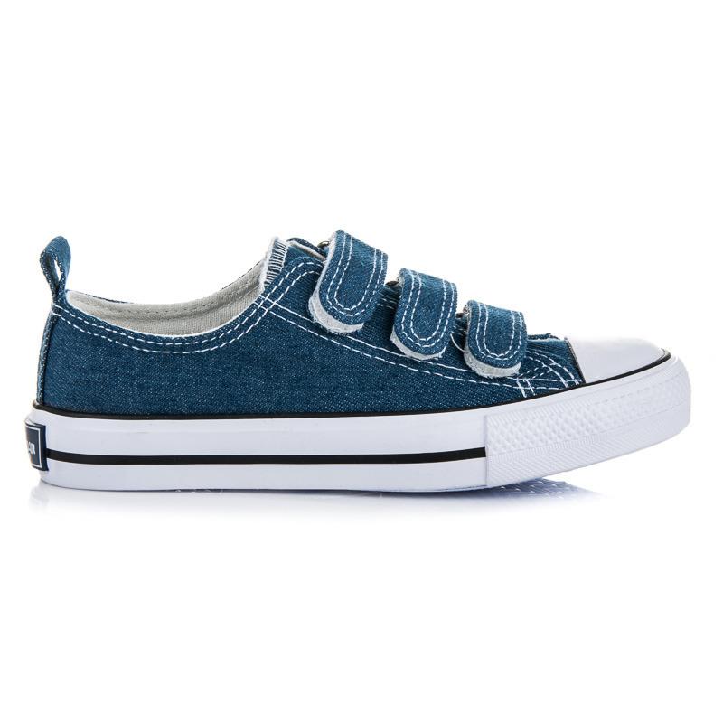 Dětské modré džínové tenisky na suchý zip