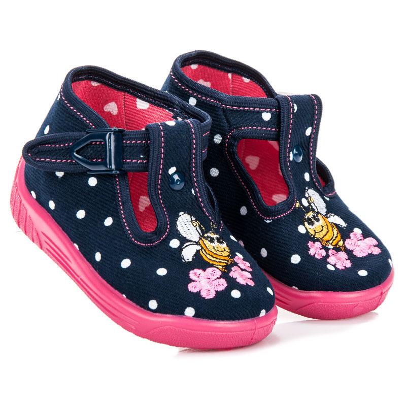Dětské modré papuče s včelkou  e8aa4a6119