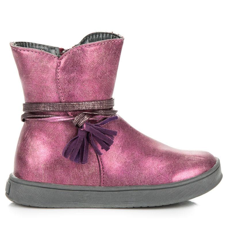 Dětské růžové kotníkové boty s třásněmi