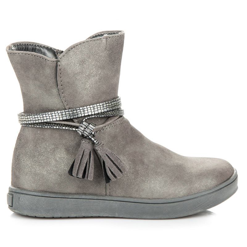 Dětské šedé kotníkové boty s třásněmi