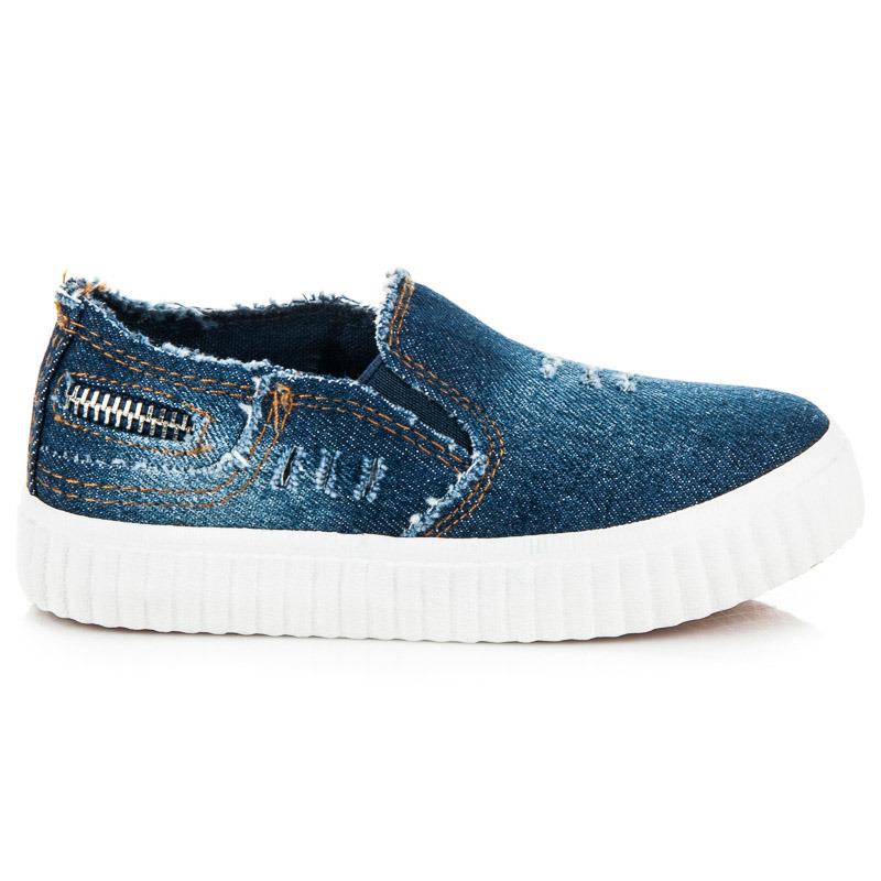 Dětské tmavě modré džínové tenisky na pohodlné podrážce