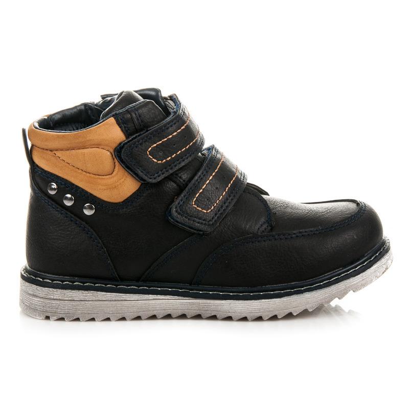 Dětské zimní modré kotníkové boty na suchý zip  2ca5fdc577