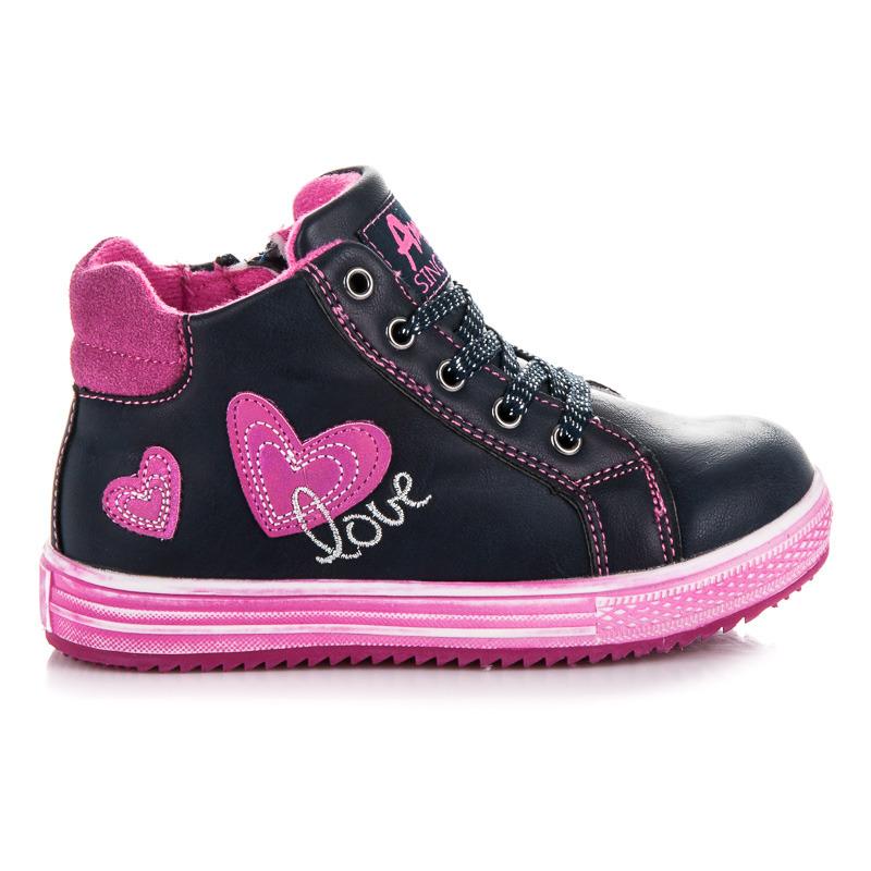 Dívčí modré kotníkové boty s růžovými detaily