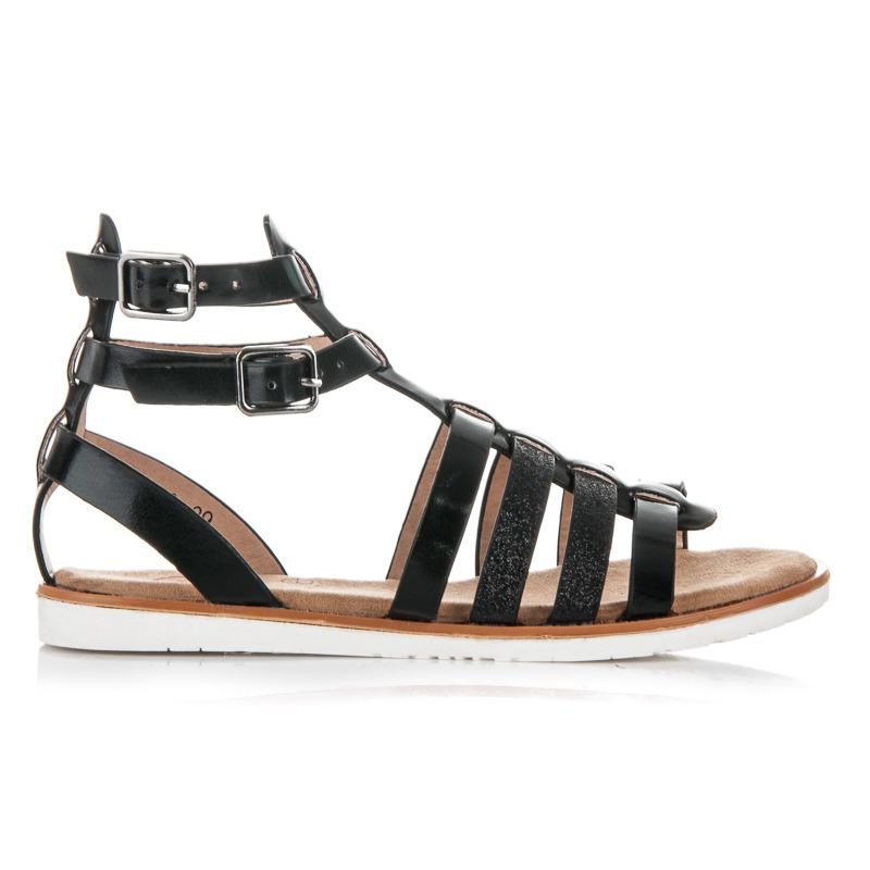 Dokonalé černé páskové dětské sandálky