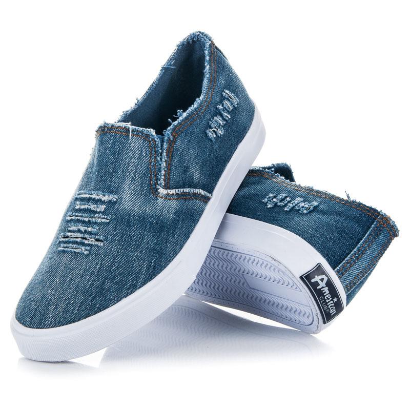 Džínové modré nazouvací tenisky