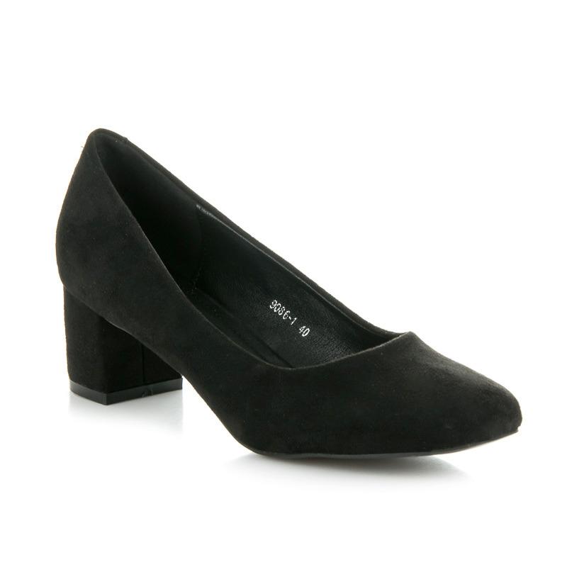 Elegantní černé semišové lodičky na podpatku
