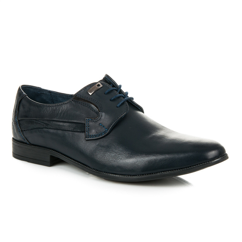 Elegantní modré kožené pánské kotníkové boty