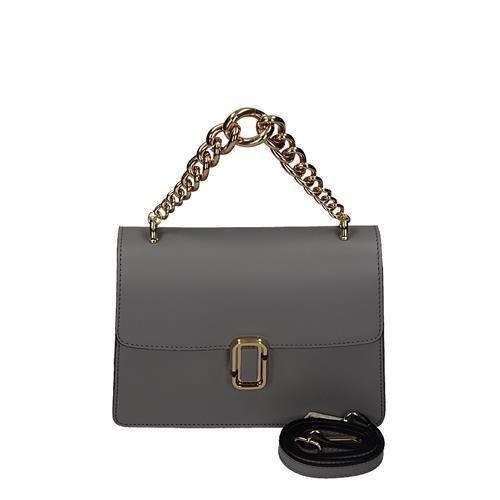 Elegantní šedá kožená kufříková kabelka s řetízkem