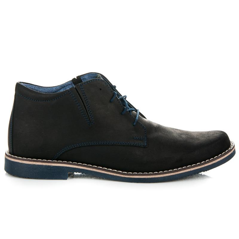 Jedinečné černé pánské kotníkové boty na šněrování