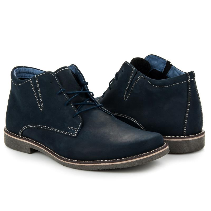 Jedinečné modré pánské kotníkové boty na šněrování