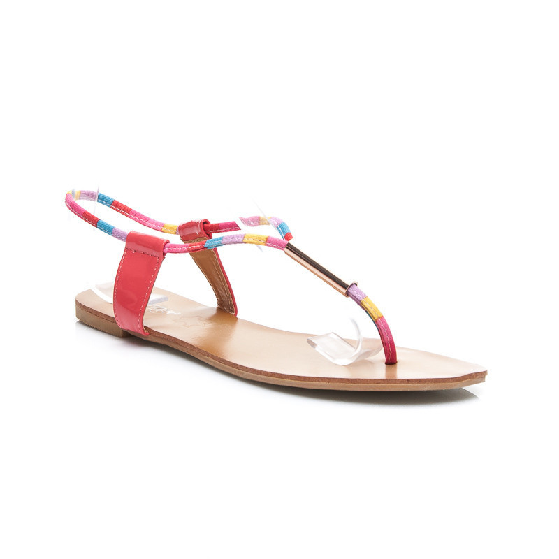 Jednoduché dámské sandále - růžové