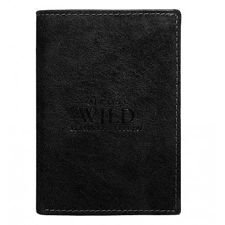 Kožená černá pánská peněženka s kontrastním prošíváním (3 ks)