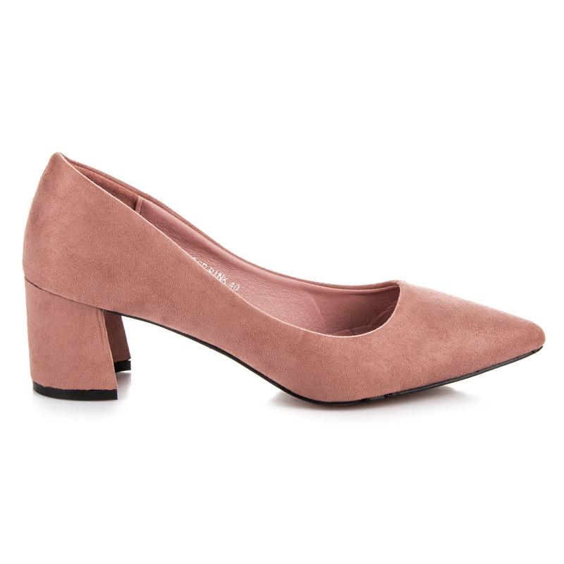 Krásné růžové lodičky na nízkém podpatku