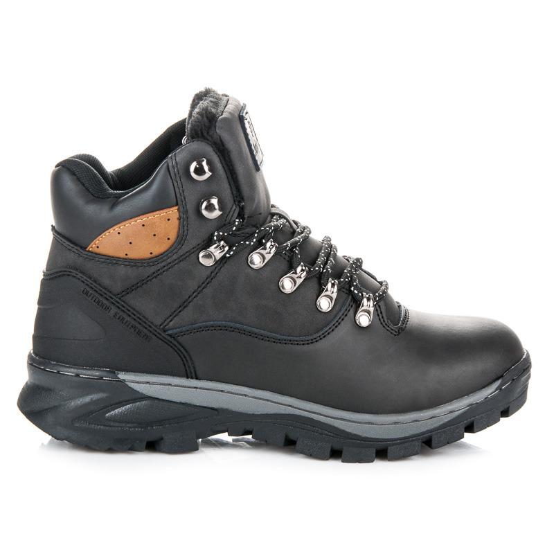Kvalitní černé pánské kotníkové boty na šněrování