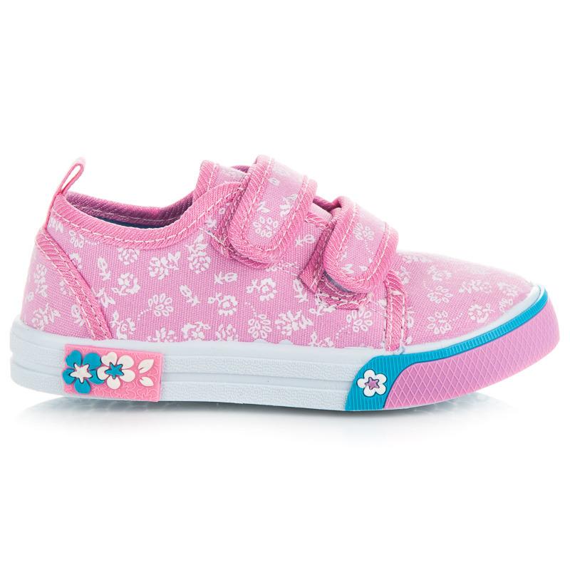 Luxusní dětské růžové tenisky s květinovým vzorem