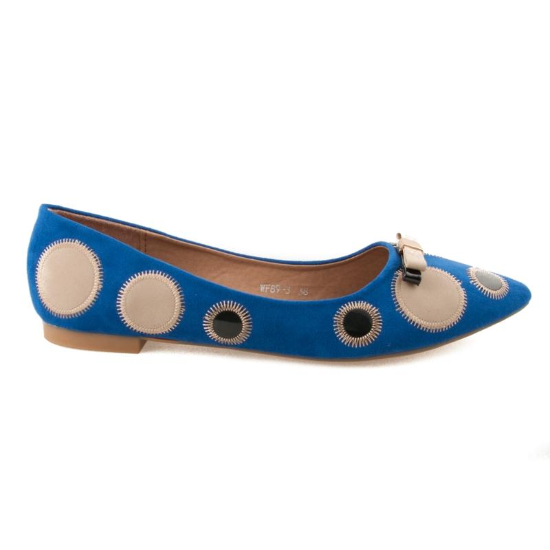 Luxusní modré baleríny s puntíky