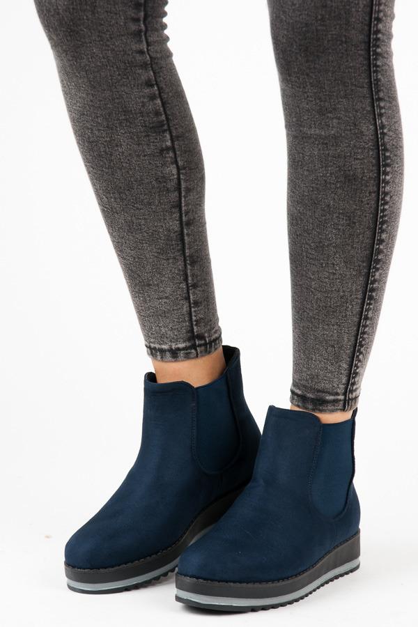 Luxusní modré kotníkové boty na platformě