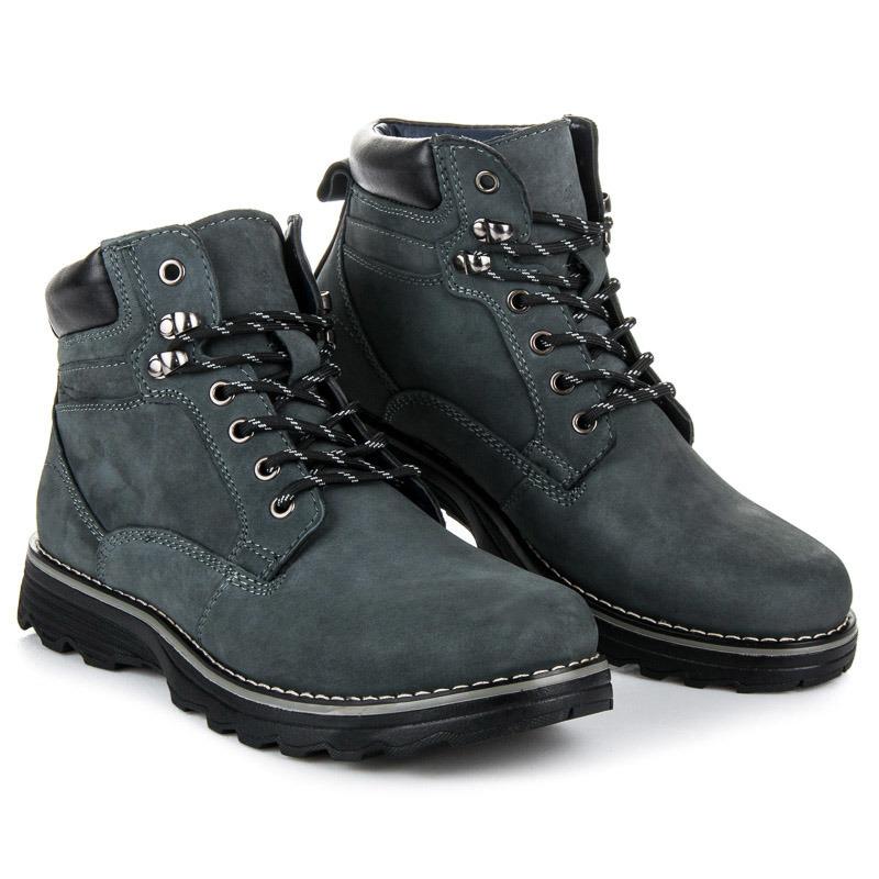 Luxusní modré pánské kotníkové boty