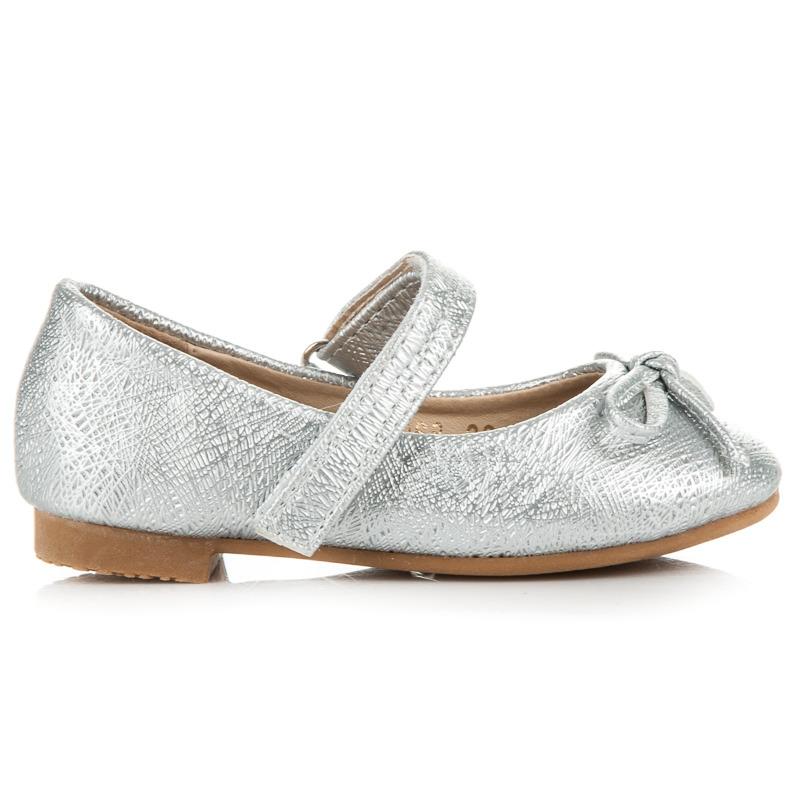 Luxusní stříbrné třpytivé dětské baleríny s gumičkou
