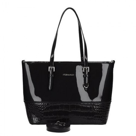 Moderní černá lakovaná kabelka s hadím vzorem