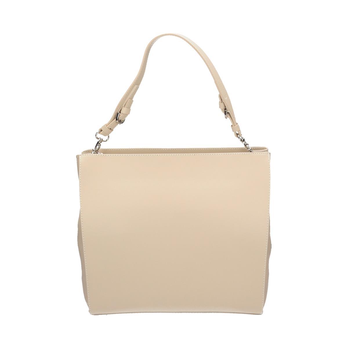 Módní béžová kožená kabelka do ruky