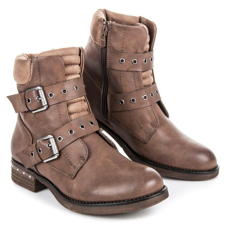 Módní béžové kotníkové boty s přezkami