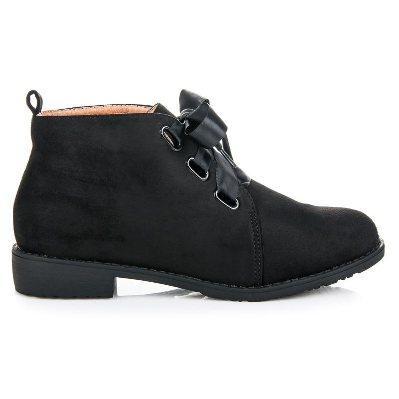 Módní černé kotníkové boty vázané stužkou