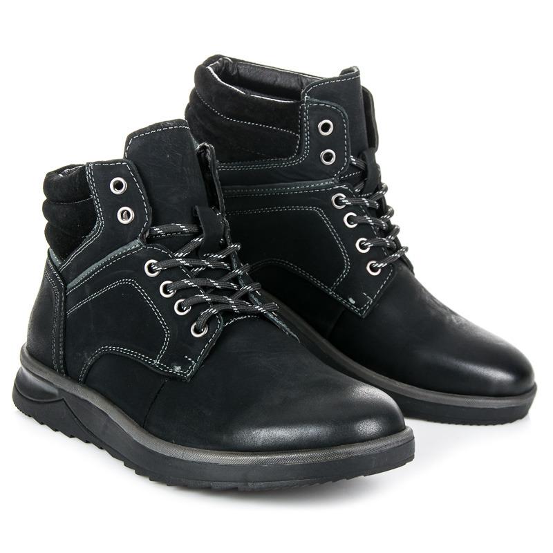 Módní černé pánské kotníkové boty se šněrováním