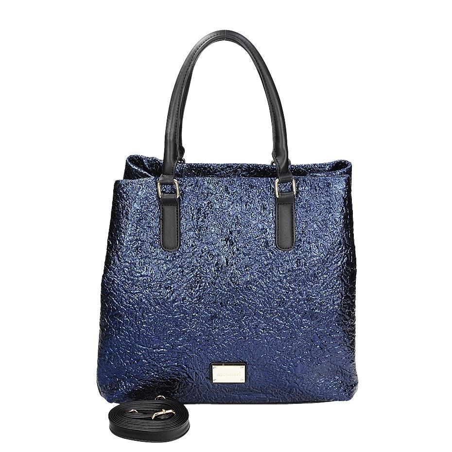 Módní modrá lesklá kabelka