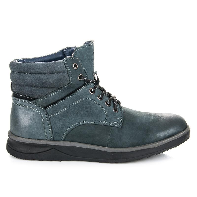 Módní modré pánské kotníkové boty se šněrováním