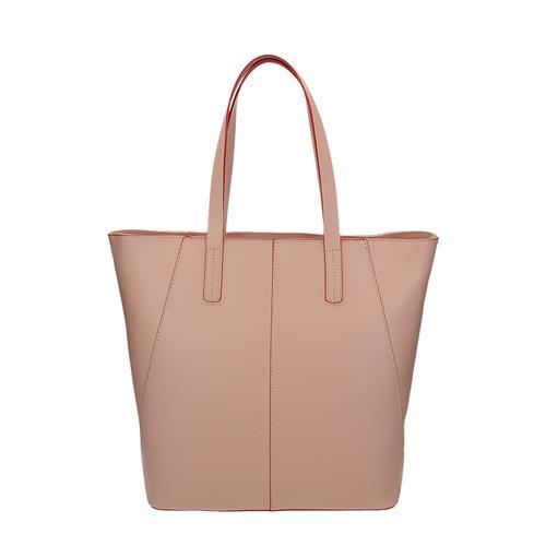Módní růžová kožená kabelka přes rameno