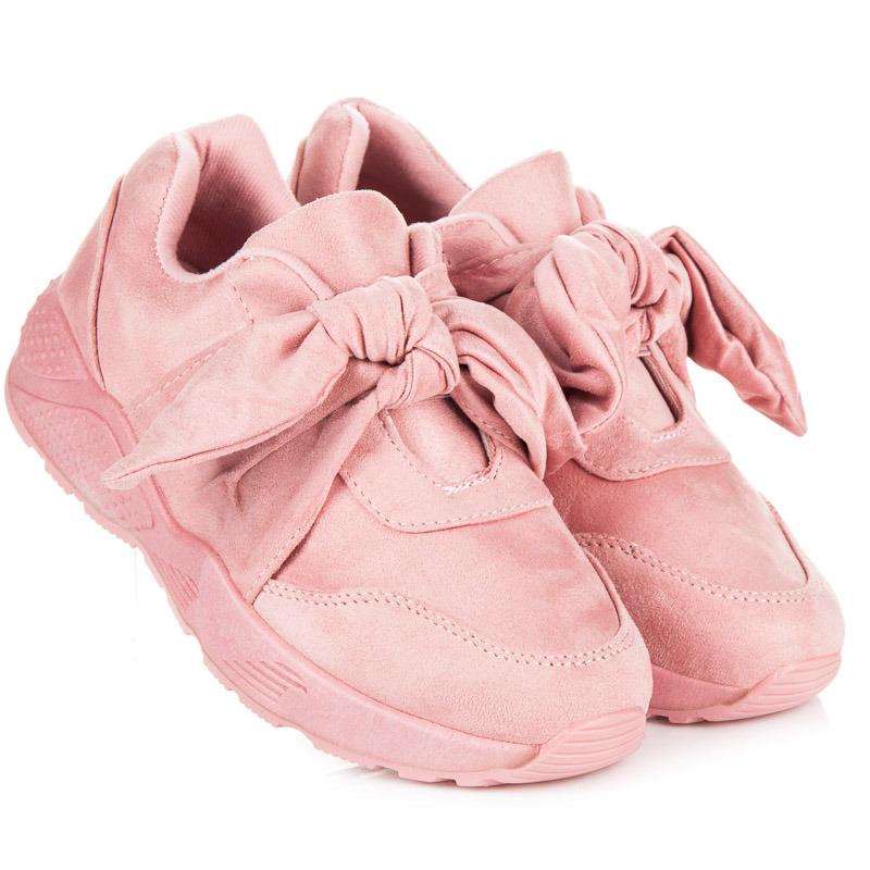 Módní růžové tenisky s mašlí