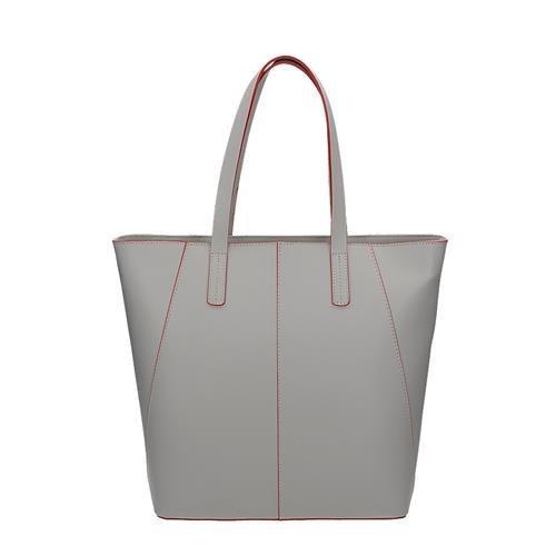 Módní šedá kožená kabelka přes rameno