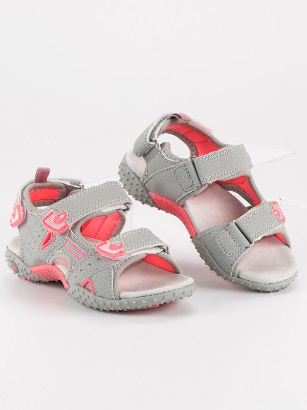 687dec890ec Modní šedé dívčí sandály na suchý zip
