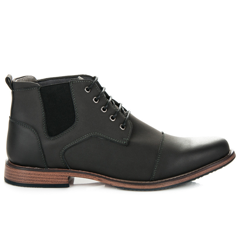 Nádherné šedé pánské kotníkové boty na šněrování