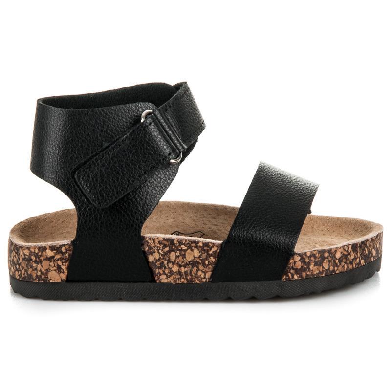 Originální černé dívčí sandály na korkové podrážce