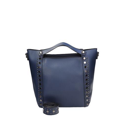 Originální modrá kabelka zdobena cvoky
