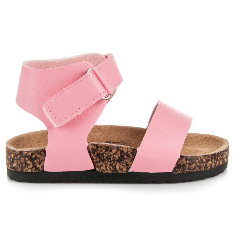 Originální růžové dívčí sandály na korkové podrážce