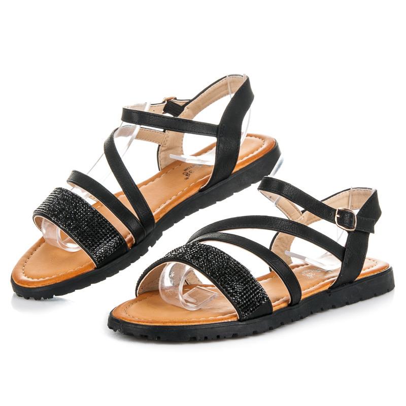 Oslnivé černé sandály s kamínky